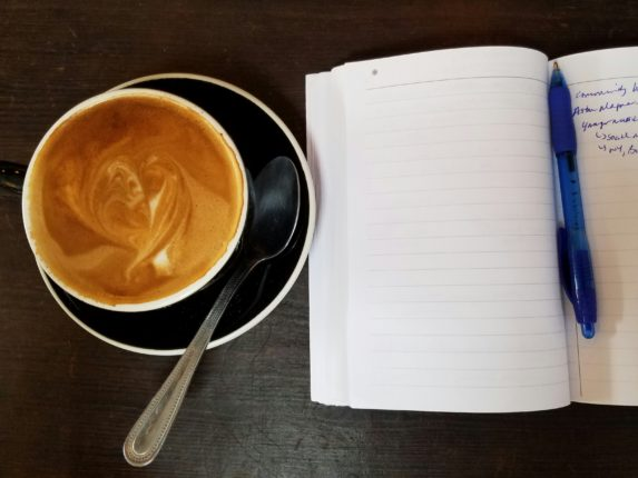 coffee cup notebook robin catalano freelance writer blogger