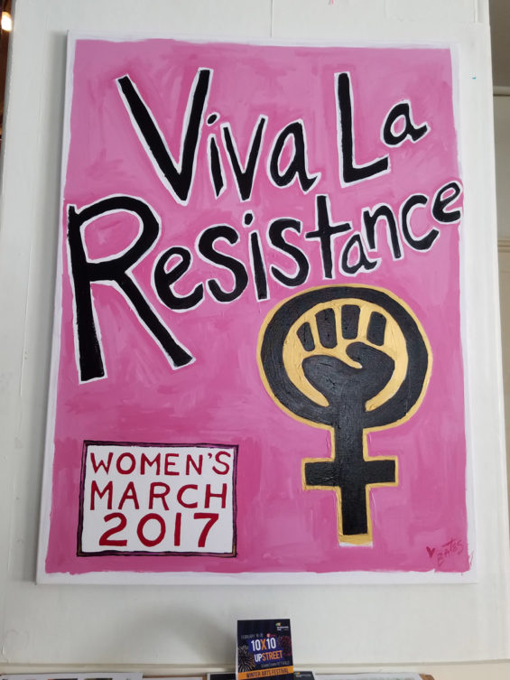 Robin Catalano copywriter blogger Albany Berkshires Troy Women's March signs