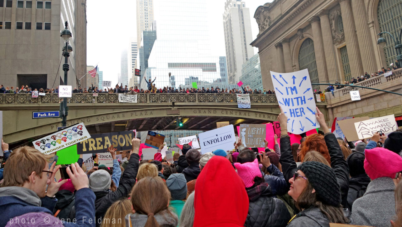 Womens March NYC signs Jane Feldman photographer Robin Catalano blogger copywriter
